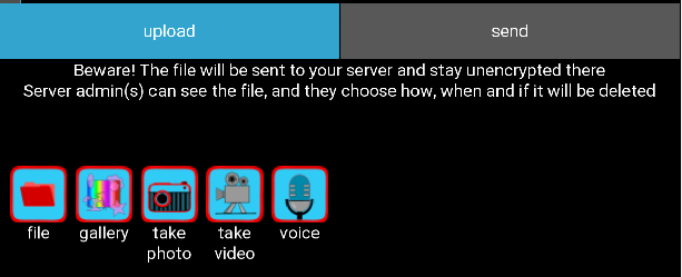 file sending dialog on Android